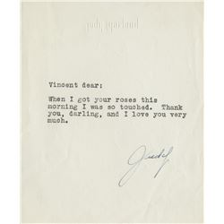 Judy Garland typed letter signed to Vincente Minnelli.