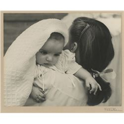 Judy Garland with infant Liza Minnelli mounted oversize exhibition photo signed by Lette Valeska.