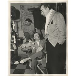Judy Garland candid photograph with Vincente Minnelli on the set of The Pirate.