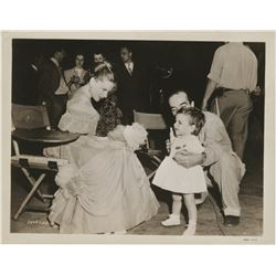 Judy Garland vintage photograph with toddler Liza & husband Vincente Minnelli on set of The Pirate.