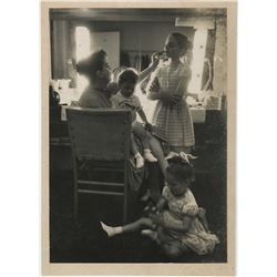 Judy Garland candid backstage exhibition photograph with her children by John Bryson.
