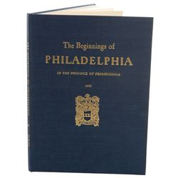 Judy Garland custom bound book The Beginnings of Philadelphia presented by mayor Richard Dilworth.