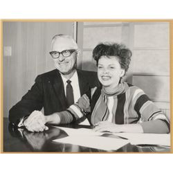 Judy Garland contract signing photo plaque.