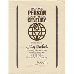 Judy Garland Epcot Person of the Century award certificate.