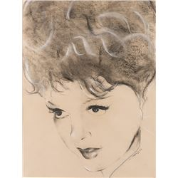 Judy Garland (1) portrait drawing and (1) lithographic print.