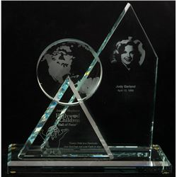 Judy Garland award trophy from the Audrey Hepburn Hollywood for Children 'Hall of Fame'.