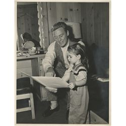 Liza Minnelli oversize childhood photograph on set with Van Johnson.