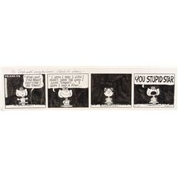 Peanuts original daily comic strip art inscribed and signed by Charles M. Schulz to Liza Minnelli.