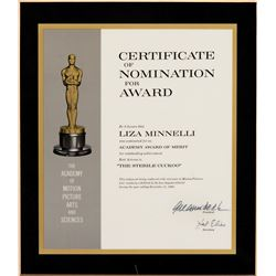 Liza Minnelli 'Best Actress' Academy Award nomination plaque for The Sterile Cuckoo.