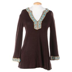 Liza Minnelli brown mini dress with gold and turquoise trim by Kikis.