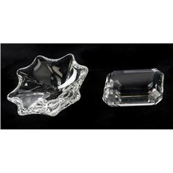 Liza Minnelli crystal Bulgari ashtray and Tiffany & Co. faceted paperweight.