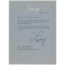 Liza Minnelli (4) signed pieces of correspondence from Lucille Ball.