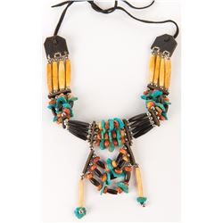 Liza Minnelli leather, turquoise and bone choker.