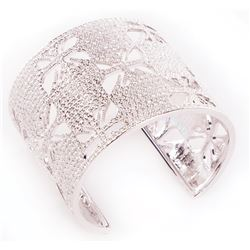 Liza Minnelli Swarovski silver cut-out bangle bracelet.