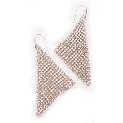Liza Minnelli Swarovski silver mesh triangle earrings.