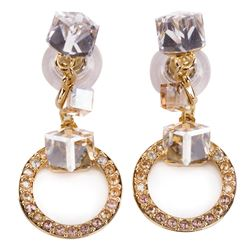 Liza Minnelli Swarovski gold and crystal cube drop earrings.