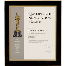 Liza Minnelli 'Best Actress' Academy Award nomination plaque for Cabaret.