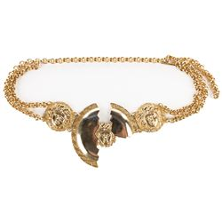 Liza Minnelli gold medallion Versace belt.