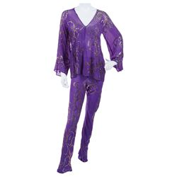 Liza Minnelli purple chiffon with gold sequin pattern ensemble by Halston.