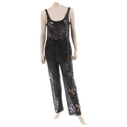 Liza Minnelli black floral pattern beaded ensemble by Halston.