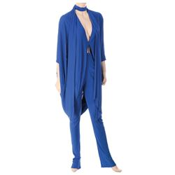 Liza Minnelli royal blue silk ensemble by Halston.