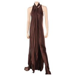 Liza Minnelli chocolate brown satin ensemble by Halston.