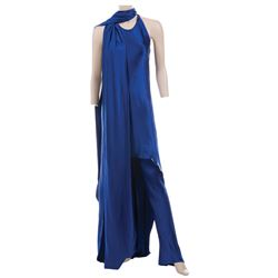 Liza Minnelli set of (2) variant cobalt blue satin ensembles by Halston.