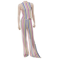 Liza Minnelli multi color zig-zag design 'Disco' pantsuit ensemble by Missoni.