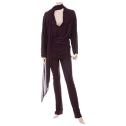 Liza Minnelli plum crêpe ensemble by Halston.