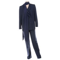 Liza Minnelli navy blue double-breasted pantsuit by Halston.