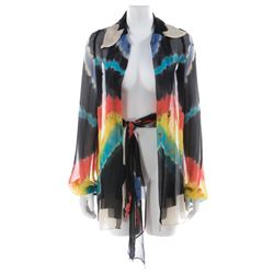 Liza Minnelli sheer chiffon rainbow tie-dye ensemble by Halston.