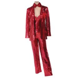 Liza Minnelli red sequin tuxedo pantsuit ensemble by Halston.