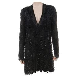 Liza Minnelli sheer black crystal wrap ensemble.