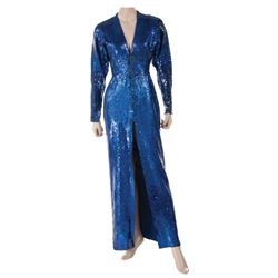 Liza Minnelli deep blue sequin gown by Halston.