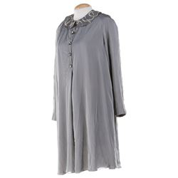 Liza Minnelli grey bib-collared baby doll dress.