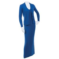 Liza Minnelli blue knit sweater and dress ensemble by Halston.