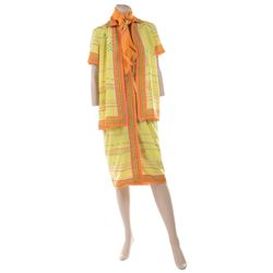 Liza Minnelli yellow, green and pink patterned ensemble from the Rio Line by Halston.