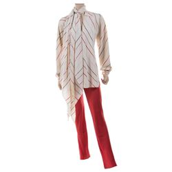 Liza Minnelli red and crème stripe ensemble by Halston.