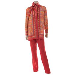 Liza Minnelli orange patterned ensemble from the Rio Line by Halston.