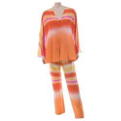 Liza Minnelli yellow, orange and pink patterned ensemble from the Rio Line by Halston.