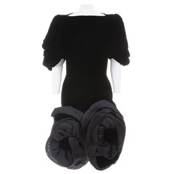 Liza Minnelli black velvet gown with large satin poofs by Paul Louis Orrier.