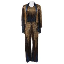 Liza Minnelli black, blue and gold beaded pantsuit ensemble by Halston.