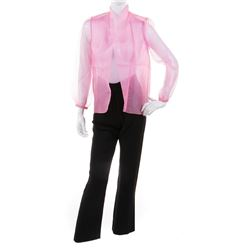 Liza Minnelli black pants and sheer pink blouse by Halston.