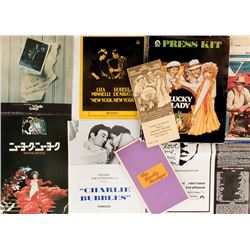 Liza Minnelli (10) press kits, programs, and ephemera for her films.