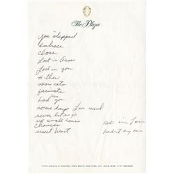 Liza Minnelli autograph draft song lyrics on Plaza Hotel stationery.