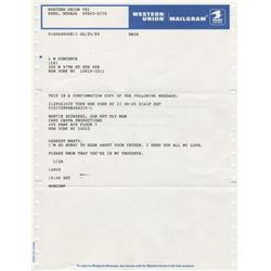 Liza Minnelli personal archive of (15+) sender copies of telegrams to celebrities.