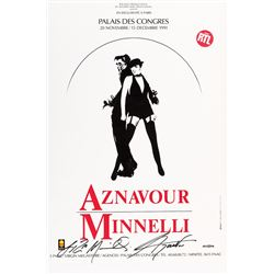 'Aznavour / Minnelli' (6) French concert posters signed by Minnelli and Aznavour.