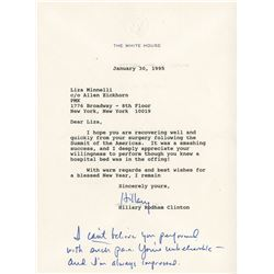 Liza Minnelli typed letter signed from First Lady Hillary Clinton.