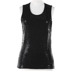 Liza Minnelli black sleeveless sequined tunic by Michael Kors.