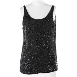 Liza Minnelli black silk mesh sequined tank top tunic.